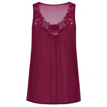 Embroidered Sleeveless Chiffon Plus Size Top - WINE RED 5XL