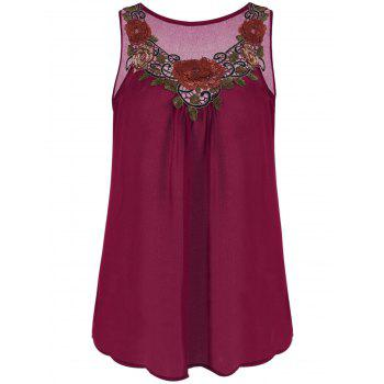 Embroidered Sleeveless Chiffon Plus Size Top