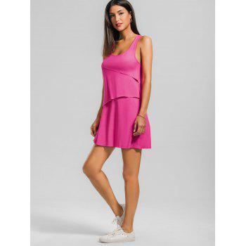 Layered Back Bowknot Mini Tank Dress - S S