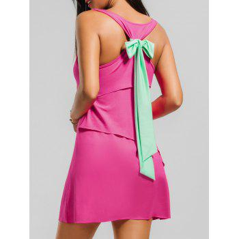 Layered Back Bowknot Mini Tank Dress - TUTTI FRUTTI S