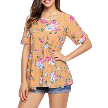 Floral Lace-up Cuffed Babydoll Top