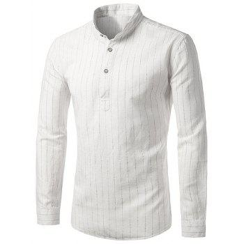 Long Sleeve Vertical Stripe Cotton Linen Shirt