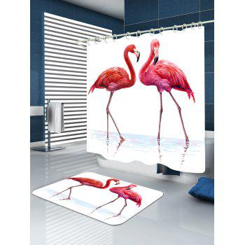 Flamingo in Water Extra Long Shower Curtain - PINK/WHITE W65 INCH * L71 INCH