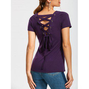 Short Sleeve T-Shirt with Lace Up Back
