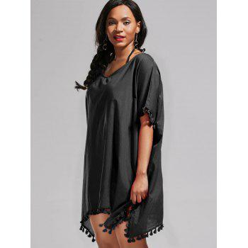 Batwing Sleeve Oversized Cover Up Dress - BLACK BLACK