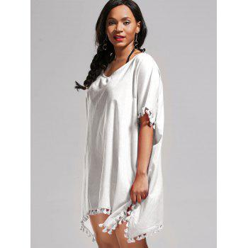 Batwing Sleeve Oversized Cover Up Dress - WHITE WHITE