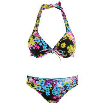 Floral Push Up Bikini Set with Shorts