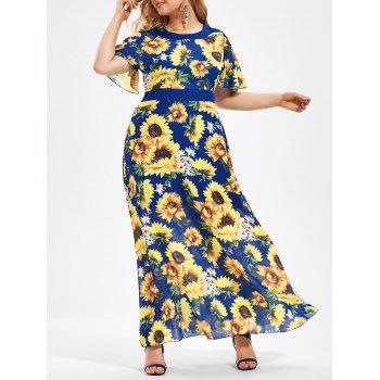 Plus Size Sunflower Printed Floor Length Chiffon Dress