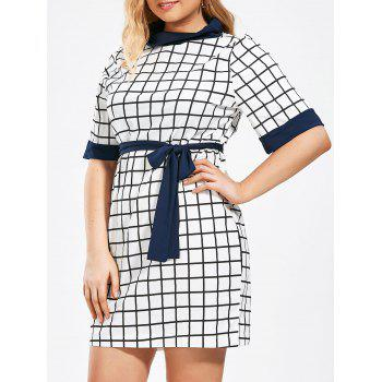 Plus Size Checked Pencil Dress with Pockets