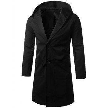 Hooded Longline Single Breasted Coat