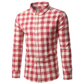 Cotton Button Down Long Sleeve Checked Shirt