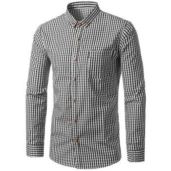 Pocket Button Down Checked Long Sleeve Shirt