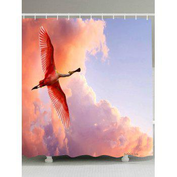 Waterproof Fabric Flying Flamingo Shower Curtain