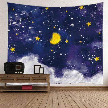Oil Painting Moon Star Wall Art Tapestry - COLORFUL COLORFUL