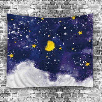 Oil Painting Moon Star Wall Art Tapestry - COLORFUL W59 INCH * L79 INCH