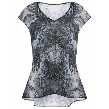 V Neck Printed Plus Size High Low Top