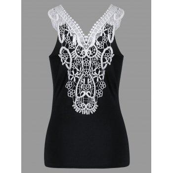 Lace Trim Cutwork Slim Tank Top