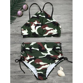 Camouflage Print Lace Up Cropped Top Bikini