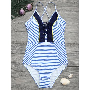 Criss Cross Halter Striped One Piece Swimwear
