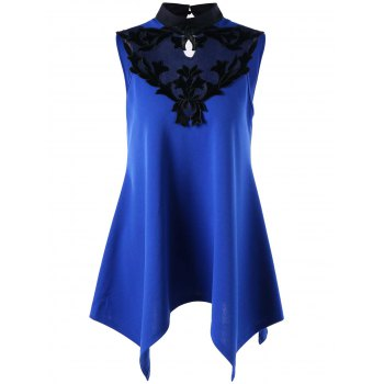 Stand Collar Sleeveless Patched Top