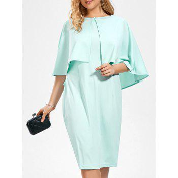 Plus Size Sleeveless Sheath Dress and Ruffle Cape