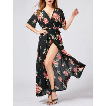 V Neck High Slit Maxi Floral Dress