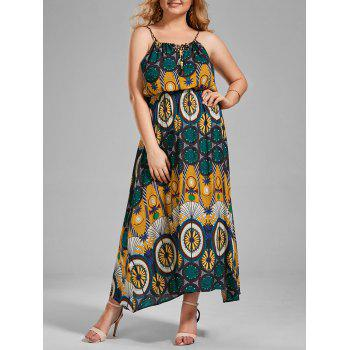 Spaghetti Strap Printed Plus Size Maxi Holiday Dress