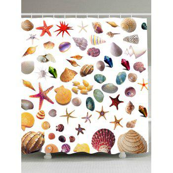 Starfish Shell Conch Print Waterproof Shower Curtain