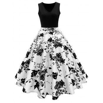 Vintage Print A Line High Waisted Dress
