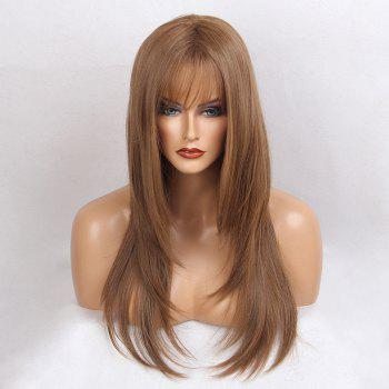 Long Side Bang Glossy Straight Synthetic Wig