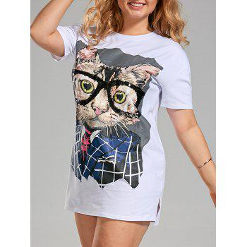 Plus Size Sequin Funny Cat T-shirt Dress