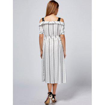 Cold Shoulder Button Up Print Tea Length Dress - WHITE 2XL