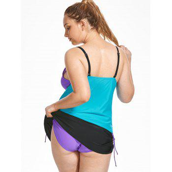 Ensemble Tankini Color Block Scrunch Plus Size - Bleu / Violet XL