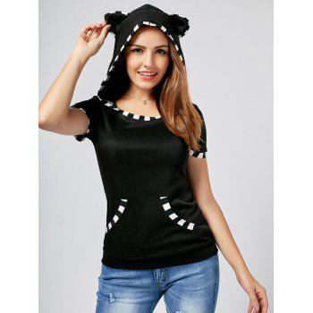 Cat Ear Hooded Fitted T-Shirt