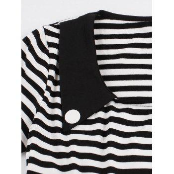 Vintage Striped Buttoned Pin Up Dress - BLACK M