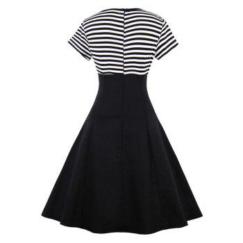 Vintage Striped Buttoned Pin Up Dress - BLACK 2XL