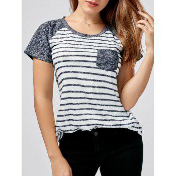 Raglan Sleeve Striped Pocket Tee