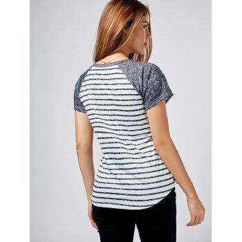 Raglan Sleeve Striped Pocket Tee - COLORMIX 2XL