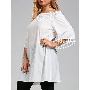 Plus Size Tassel Ruffle Off The Shoulder Chiffon Top