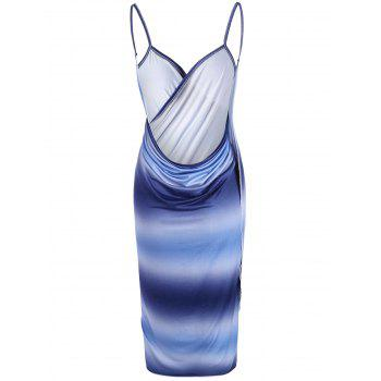 Ombre Wrap Cover Up Slip Dress - Bleu ONE SIZE