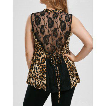 Plus Size Sleeveless Sheer Leopard Blouse