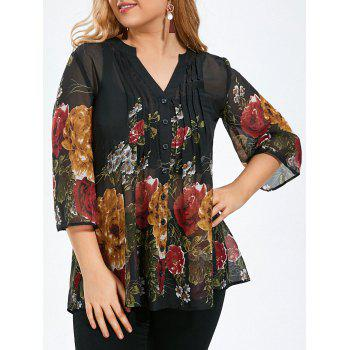 Plus Size Floral Sheer Pintuck Blouse