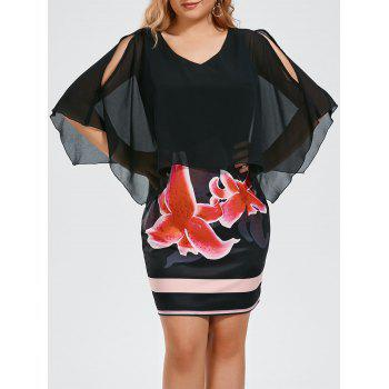 Plus Size Floral Print Slit Sleeve Capelet Dress