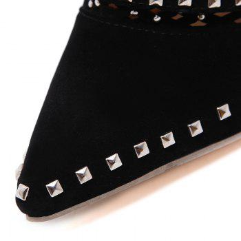 Hollow Out Studded Ankle Boots - BLACK 38