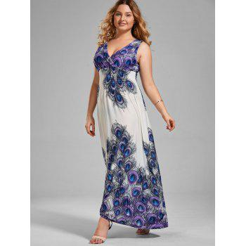 V Neck Printed Plus Size Maxi Prom Dress - multicolor 4XL
