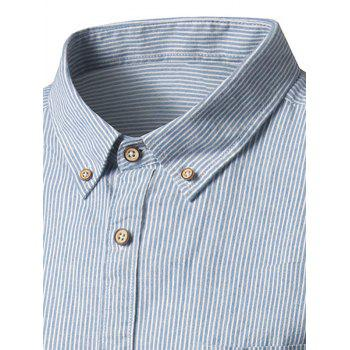 Button Down Pocket Cotton Linen Stripe Shirt - LIGHT BLUE 43