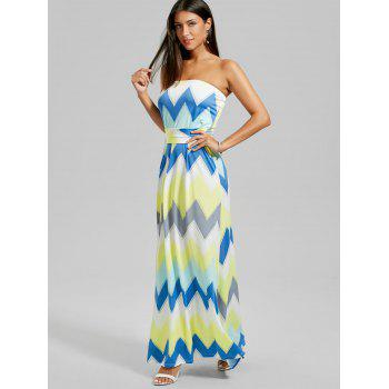 Strapless Floor Length Zigzag Dress - YELLOW M