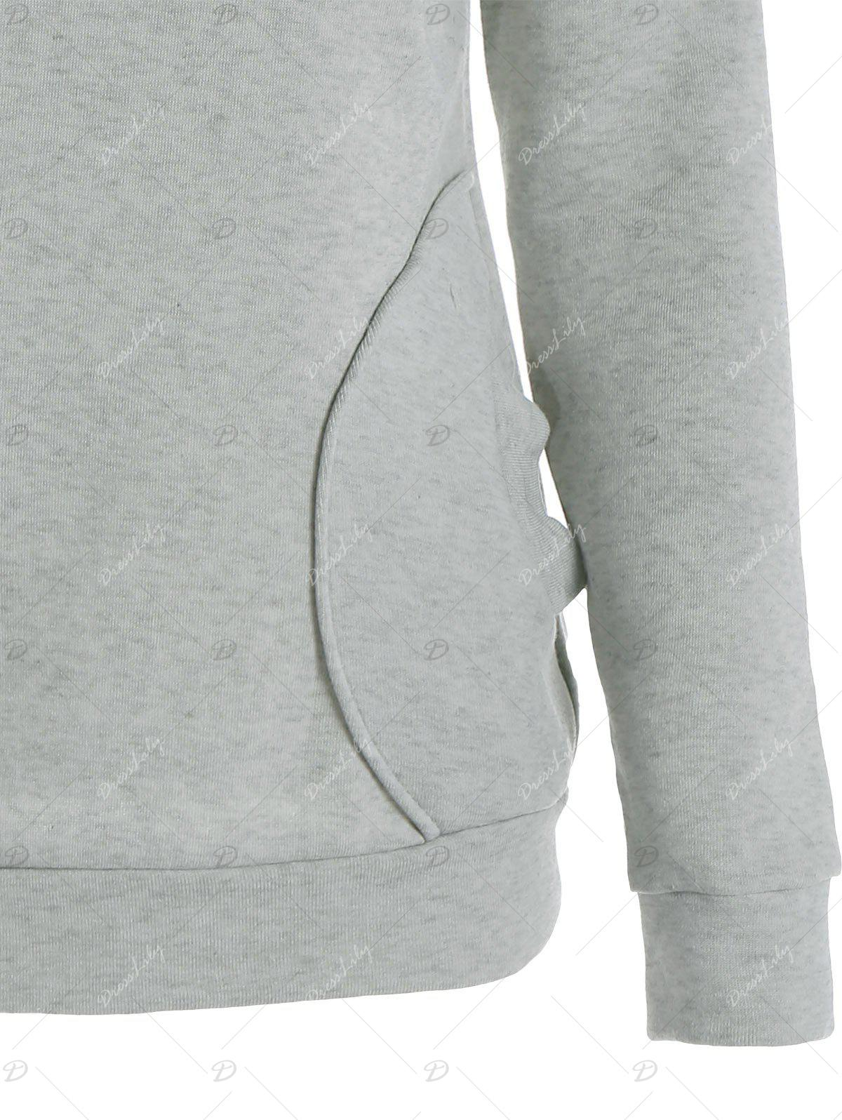 Inclined Zipper Pockets Long Sleeve Pullover Hoodie - GRAY L