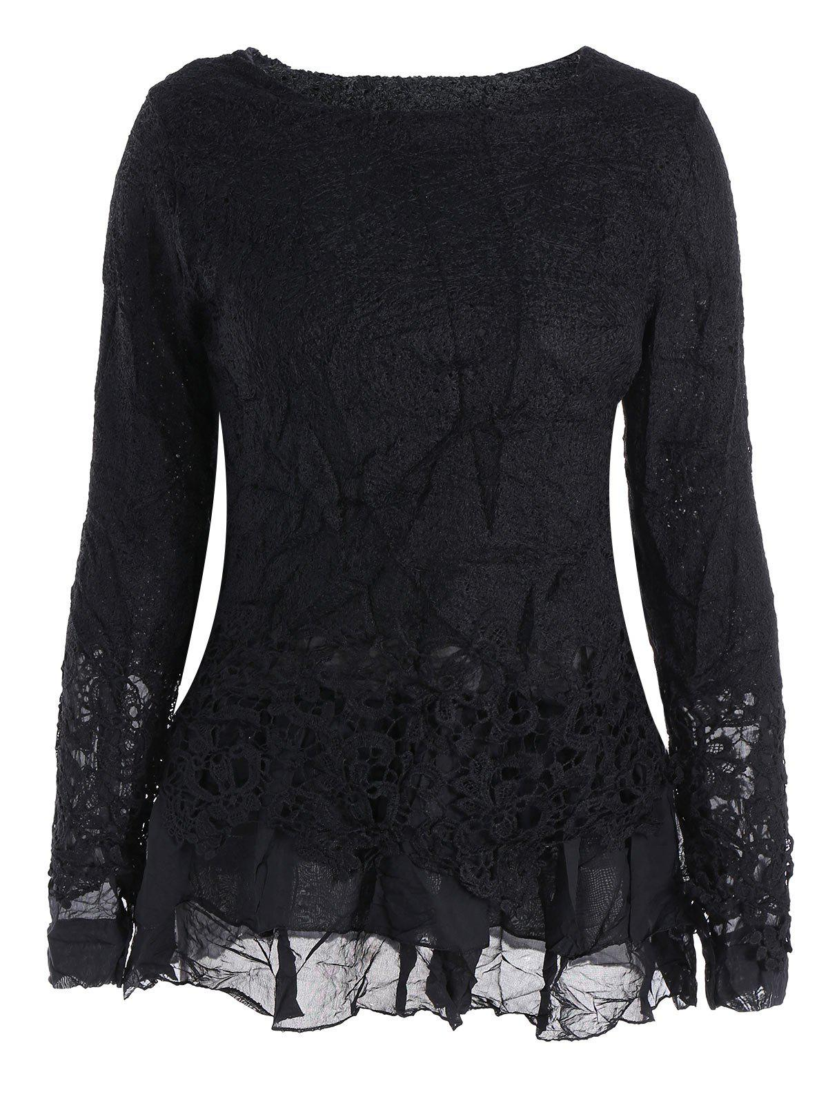 Long Sleeves Lace Panel Top - BLACK M