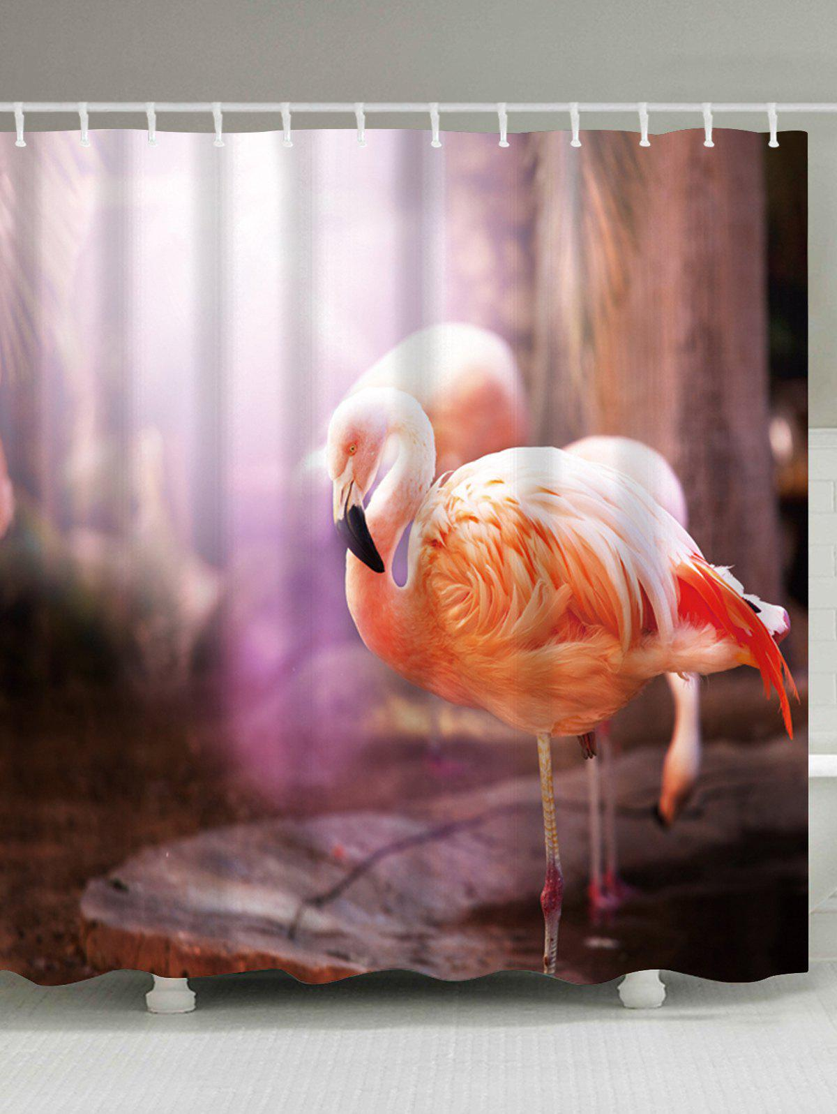 Flamingo Waterproof Mildewproof Shower Curtain - COLORMIX W71 INCH * L79 INCH